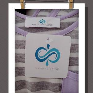 Infinity Raine Dresses - Lavender Trim Striped Tank Dress